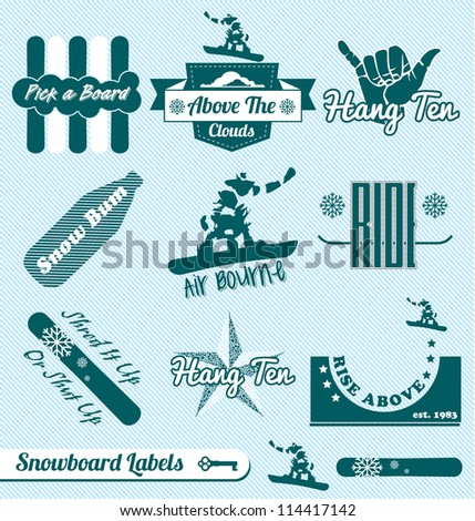 Vector Set: Vintage Snowboarding Labels and Icons
