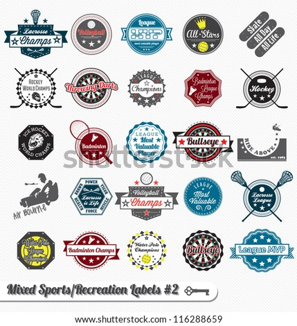 Vector Set: Vintage Sports and Recreation Labels and Icons #2