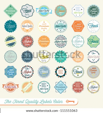 Vector Set Vintage The Finest Quality Labels Multi-Color