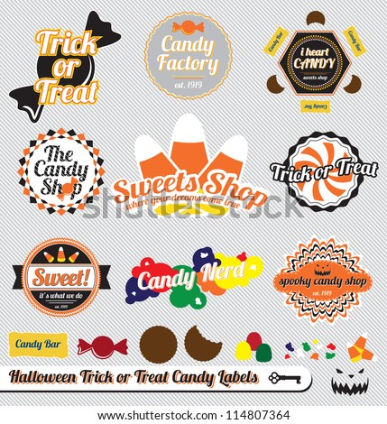 Vector Set: Vintage Trick or Treat Halloween Candy Labels and Stickers - stock vector