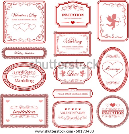 stock vector Vector set vintage valentines day and wedding labels