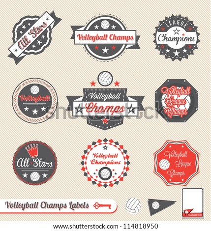 vector set  vintage volleyball