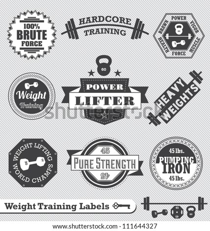 Vector Set: Vintage Weight Lifting Labels and Stickers