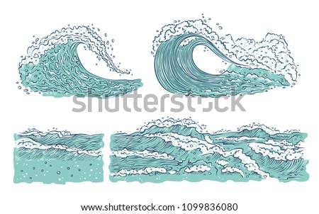 vector set waves sea ocean big