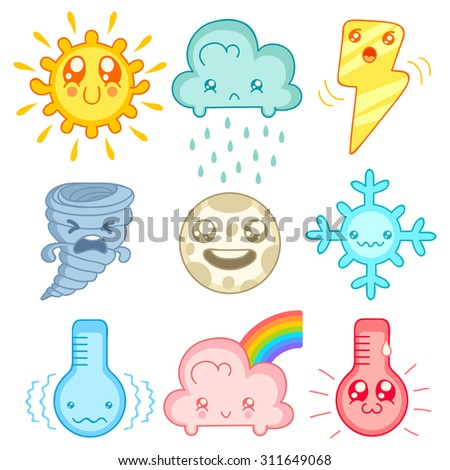 vector set weather icons in