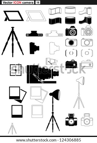 Vector set web icons. retro camera and tripod