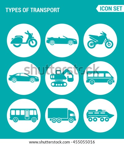 Vector set web icons. Types of transport scooter, convertible, motorcycle, car, tractor, backhoe, bus, truck, tank. Design of signs, symbols on a turquoise background