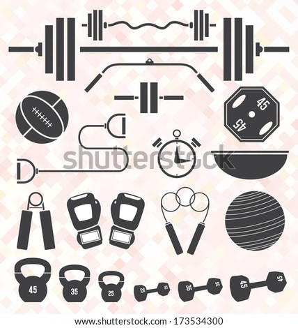 Vector Set Weight Lifting and Workout Icons and Symbols