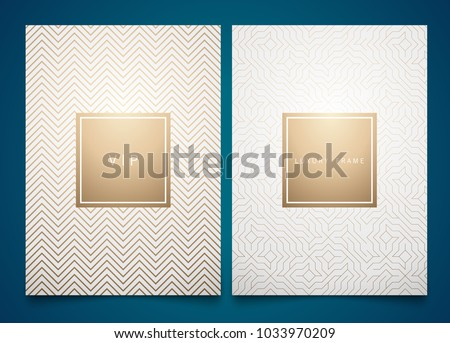 Vector set white packaging templates with different golden linear geometric pattern texture for luxury product. Trendy design for logo
