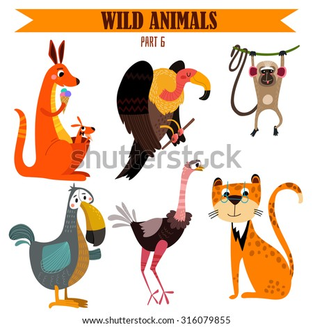 vector set wild animals in