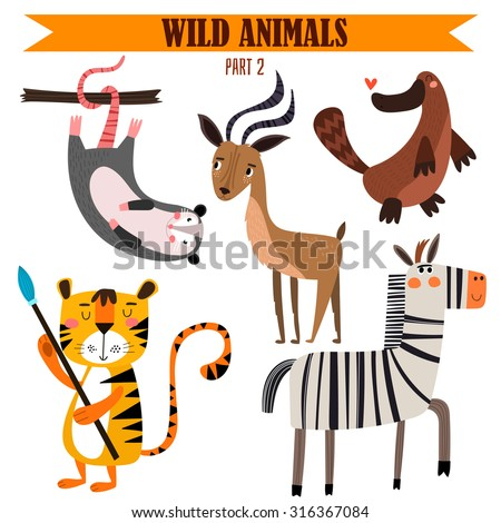 vector set wild animals in