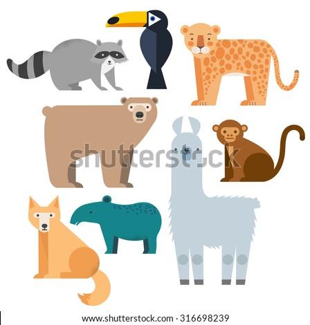 vector set wild animals lama
