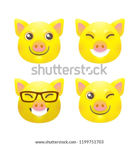 Vector set with a illustrations of kawaii pig, symbol of 2019 on the Chinese calendar on white backdrop. Yellow Earthy Pig. Element for New Year's design. Used for advertising, greetings, discounts.