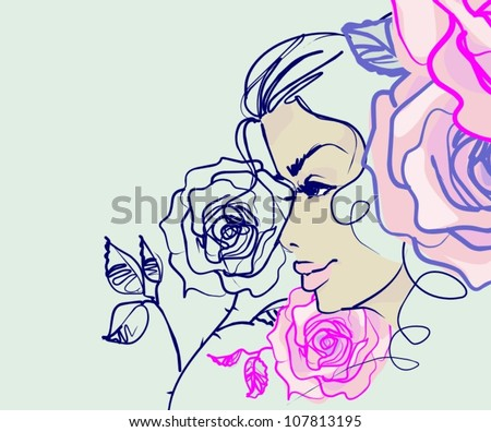 VECTOR  set with a picture of roses Background with the beautiful young   woman in bikini
