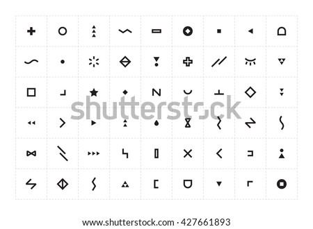 Vector Set with abstract icons symbols. Ideas for business company. Sign pattern.