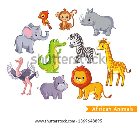 Vector set with african animals. A collection of cute mammals in the savannah in children's style.