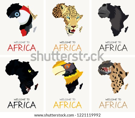 vector set with african