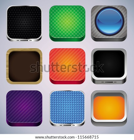 Vector set with 9 app icons - template design