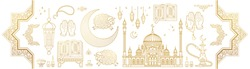 Vector set with arabic elements for Ramadan Greetings, Eid Al-Adha, Eid Mubarak cards. Arabic mosque, koran, crescent, Eastern lanterns for Kurban Bayraminiz. Islamic holidays. Easy to use, layred