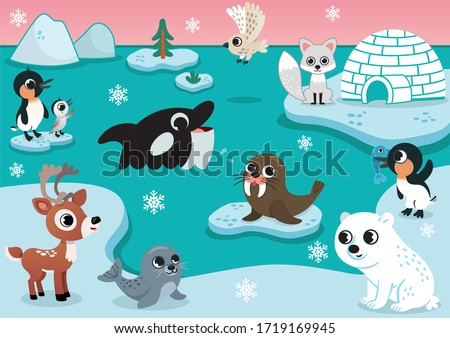 Vector set with arctic animals for kids. Set includes polar bear, seal, walrus, owl, penguins, arctic fox, reindeer, and whale. Iceberg, igloo and sky on background. Arctic animals vector illustration