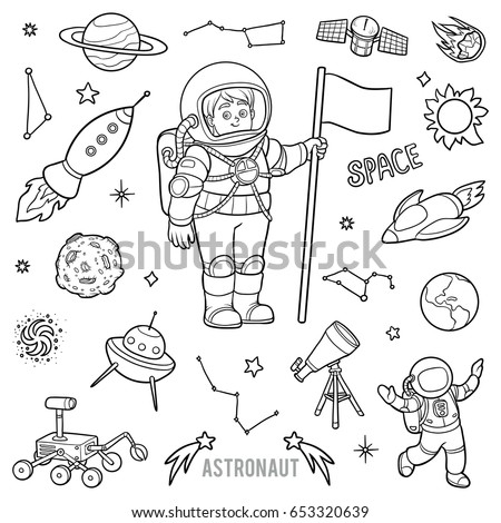 vector set with astronaut and