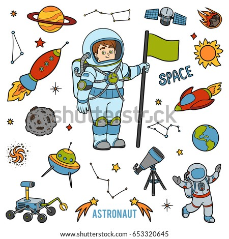 Vector set with astronaut and space objects. Cartoon colorful items