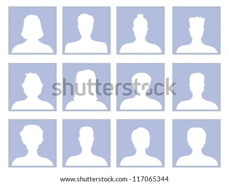Vector set with avatar icons - men and women silhouette