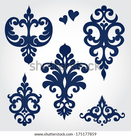 Vector set with baroque ornaments in Victorian style Ornate element for design It can be used for decorating of wedding invitations greeting cards decoration for bags and clothes