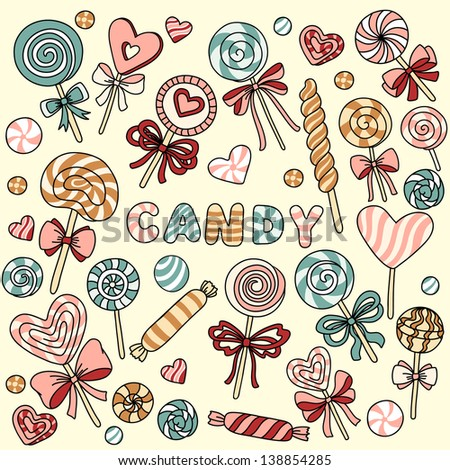 vector set with candy and