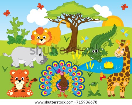 Vector set with cartoon safari animals. Set includes tiger, giraffe, lion, rhino, crocodile, frog and peacock. Vector jungle animals. Safari animals vector illustration