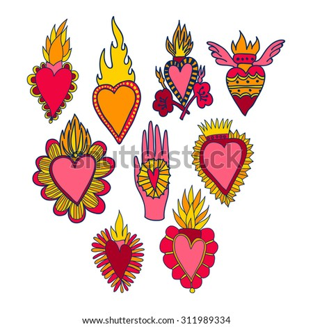 Vector Set With Catholic Hearts And Fire Religion Symbols With
