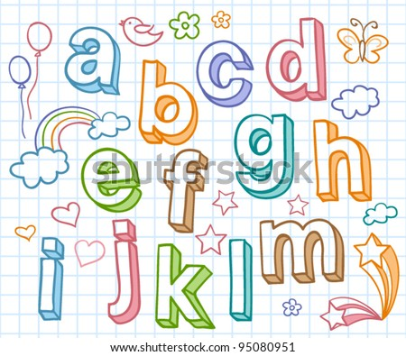Vector set with color hand written ABC letters
