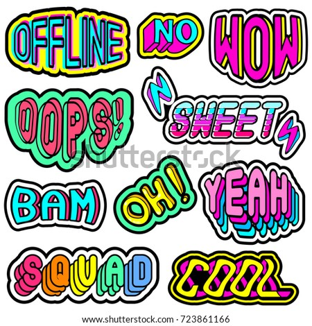 "Vector set with colorful patches, stickers, badges, pins with words ""Oh"", ""Bam"", ""Offline"", ""Oops"", ""Squad"", ""Yeah"", ""Sweet"", ""Cool"", ""Wow"", etc. Quirky cartoon comic style of 80-90s."
