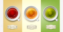 Vector set with cups of tea (green, black, herbal) isolated on a colorful background. Element for design, advertising, packaging