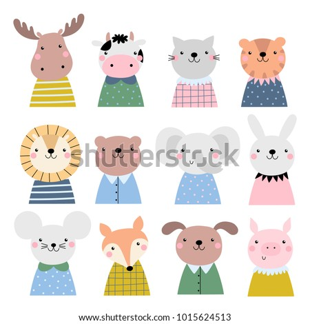 vector set with cute animals