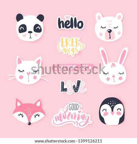 vector set with cute cartoon