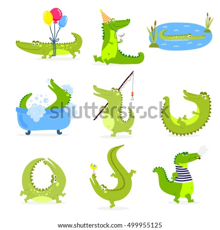 Vector set with cute cartoon crocodiles
