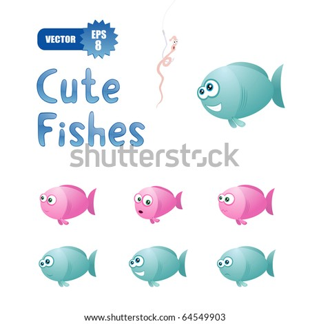 vector set with cute fishes