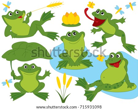 Stock Photo Vector set with cute funny frogs, dragonflies and water lily. Frogs vector illustration