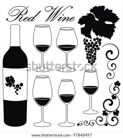 vector set with  decorative elements -  glasses for red wine, grapes, bottle, grapes ornaments and decoration