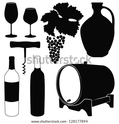 Vector set with decorative elements - glasses for white wine, grapes, bottle, grapes  and decoration