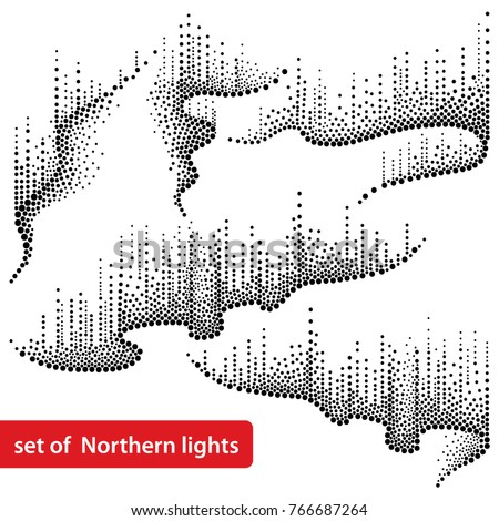 Vector set with dotted swirls of northern or polar light in black isolated on white background. Aurora borealis lights in dotwork style for arctic space or galaxy design.