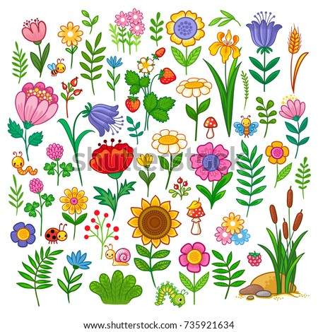 vector set with flowers floral