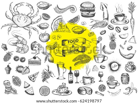 vector set with food and drink