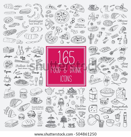 Vector set with food and drink hand drawn doodles. Sandwiches, Tea time collection, italian, mexican, asian food, sausages, dairy products, pizza Illustration for menus, recipes and packages product