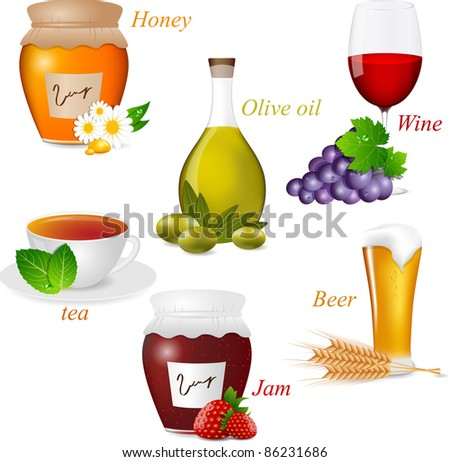 Vector set with food elements