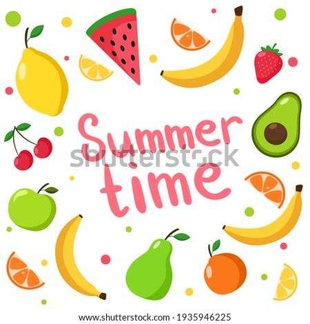 Vector set with fruits. Summer illustration Isolated on white background. Fruit banner. Watermelon, bananas, cherries, strawberries, apples, pears