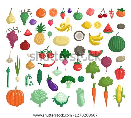 Vector set with fruits, vegetables, berries. Flat style doodles on the theme of organic, vegetarian food. Sketches for use in design #1278280687