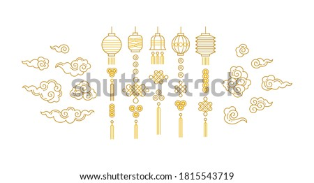 Vector set with golden line art lanterns in Chinese style. Gold isolated  icons for design elements. Traditional Chinese paper lanterns, lucky coins, lamps, lucky knots, clouds, ornaments