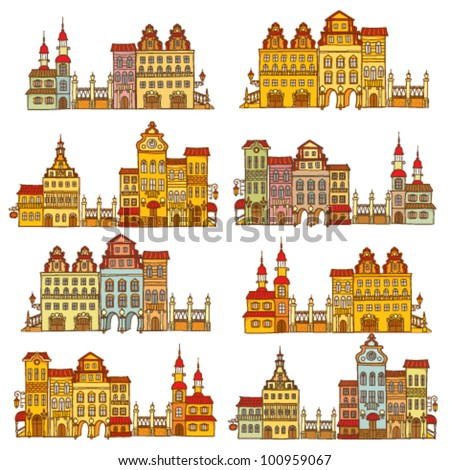 Vector set with hand drawing colorful houses